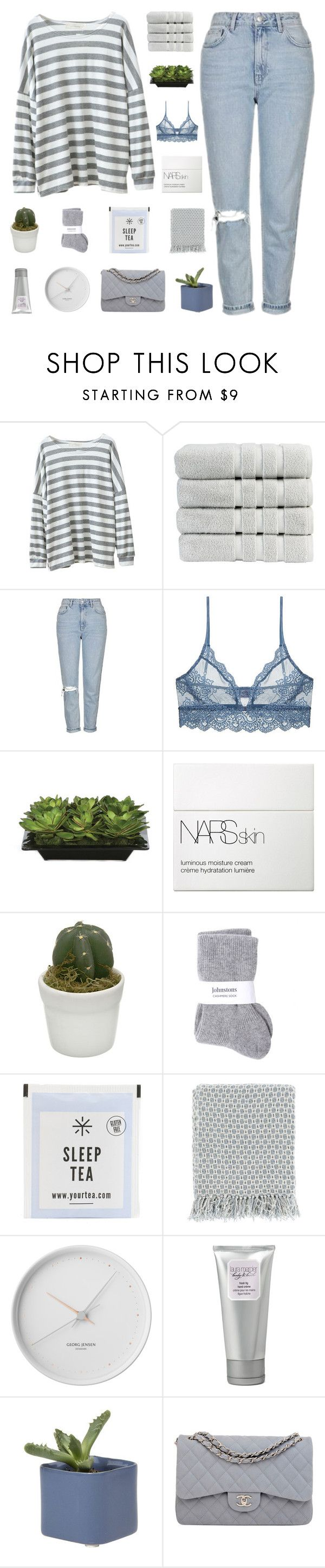 """""""we got us"""" by my-pink-wings ❤ liked on Polyvore featuring Chicnova Fashion, Christy, Topshop, Only Hearts, Lux-Art Silks, NARS Cosmetics, Johnstons, Surya, Georg Jensen and Laura Mercier"""