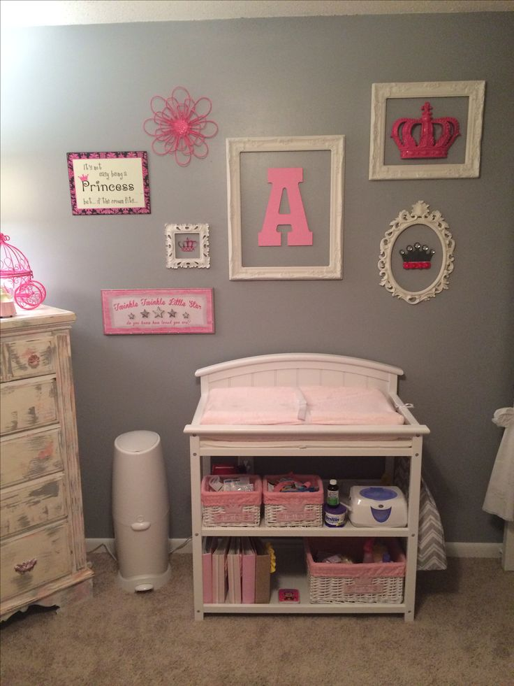 Baby girls nursery pink and gray diy wall decor my for Baby room mural ideas