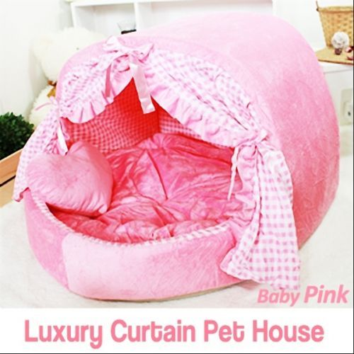 Luxury-Pet-Bed-Baby-Pink-Curtain-House-Large-Plush-Soft-Cave-Bed-for-Dog-Cat