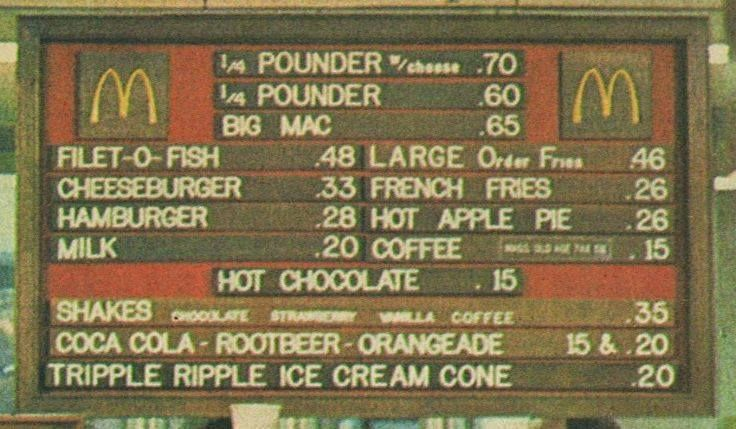 Mcdonald's prices in the 70's. This is cool looking. Why, I don't really know....