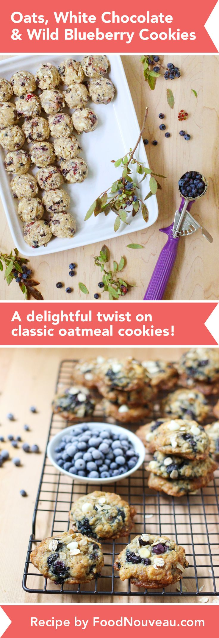 These Oats, White Chocolate & Wild Blueberry Cookies are a twist on classic oatmeal cookies: blueberries replace raisins to create a super flavorful treat. Oats, White Chocolate, and Wild Blueberry Cookies http://foodnouveau.com/recipes/desserts/cookies/oats-white-chocolate-wild-blueberry-cookies/
