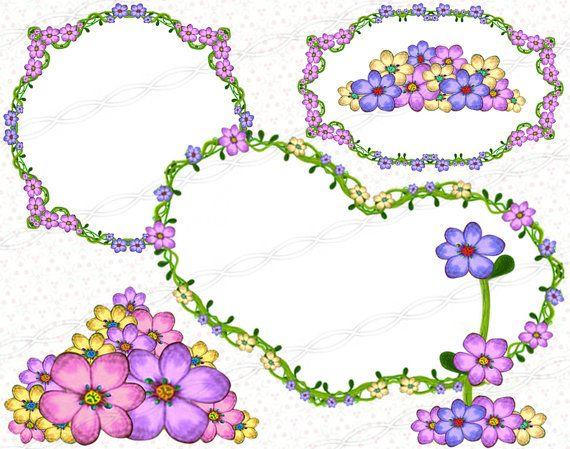 Digital floral drawing borders and frames - flourish ornaments scrapbooking clipart. https://www.etsy.com/listing/244905815/instant-download-png-frame-clip-art-digi?ref=shop_home_active_14