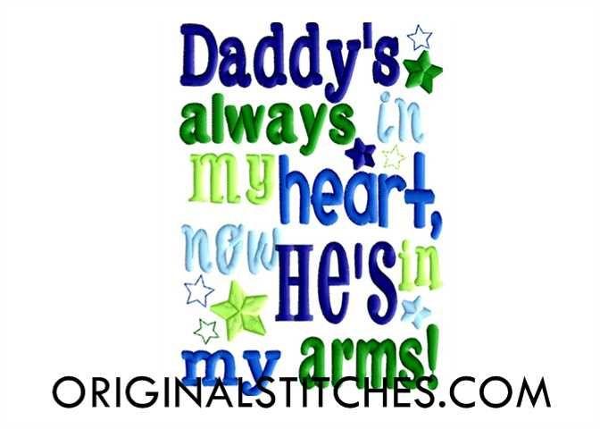 Daddy's Always in my Heart (Stars), Original Stitches