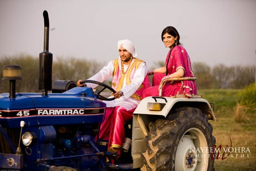 Couple On Tractor : Destination e session in punjab indian engagement