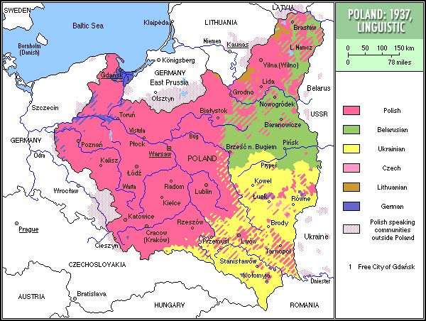 Linguistic map of Poland in 1937.
