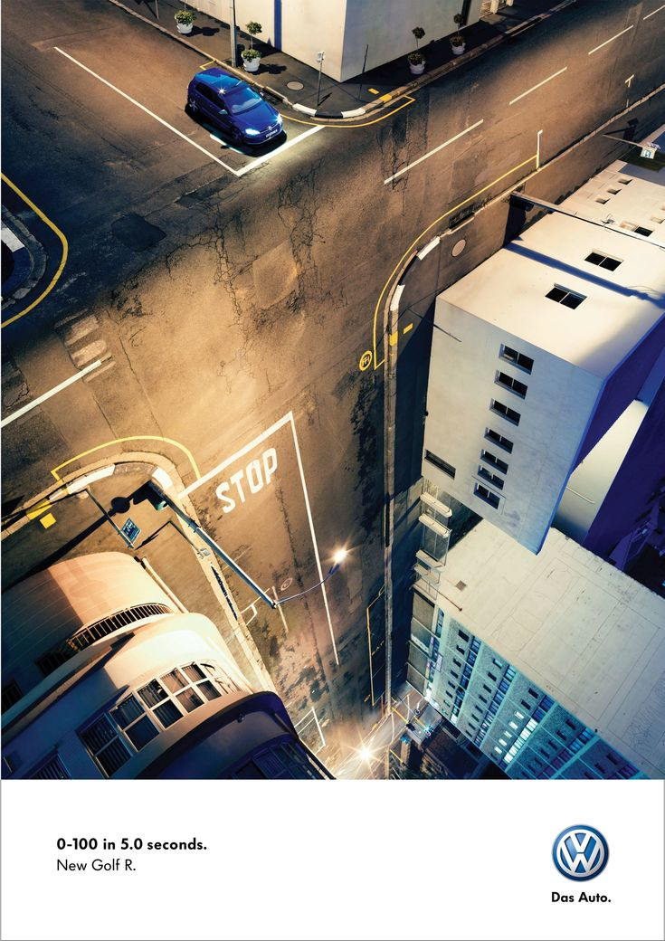 Print Advertisement: Volkswagen Golf R. I fee like I'm in the movie Inception when I see this advertisement.