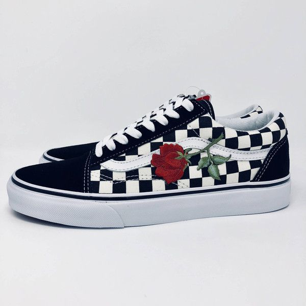 Custom Vans Rose Vans Rose Embroidered Vans Custom Rose Vans Old Skool... ($100) ❤ liked on Polyvore featuring shoes, sneakers, grey, sneakers & athletic shoes, tie sneakers, unisex adult shoes, canvas trainers, embroidered sneakers, unisex sneakers and gray shoes