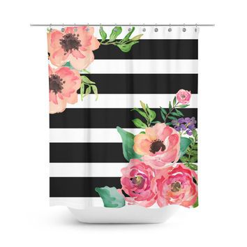 Black & White Stripes Floral Shower Curtain