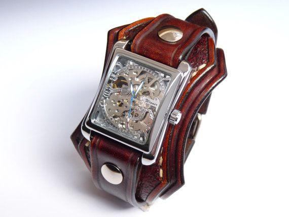 Steampunk de cuero reloj brazalete reloj de pulsera de cuero