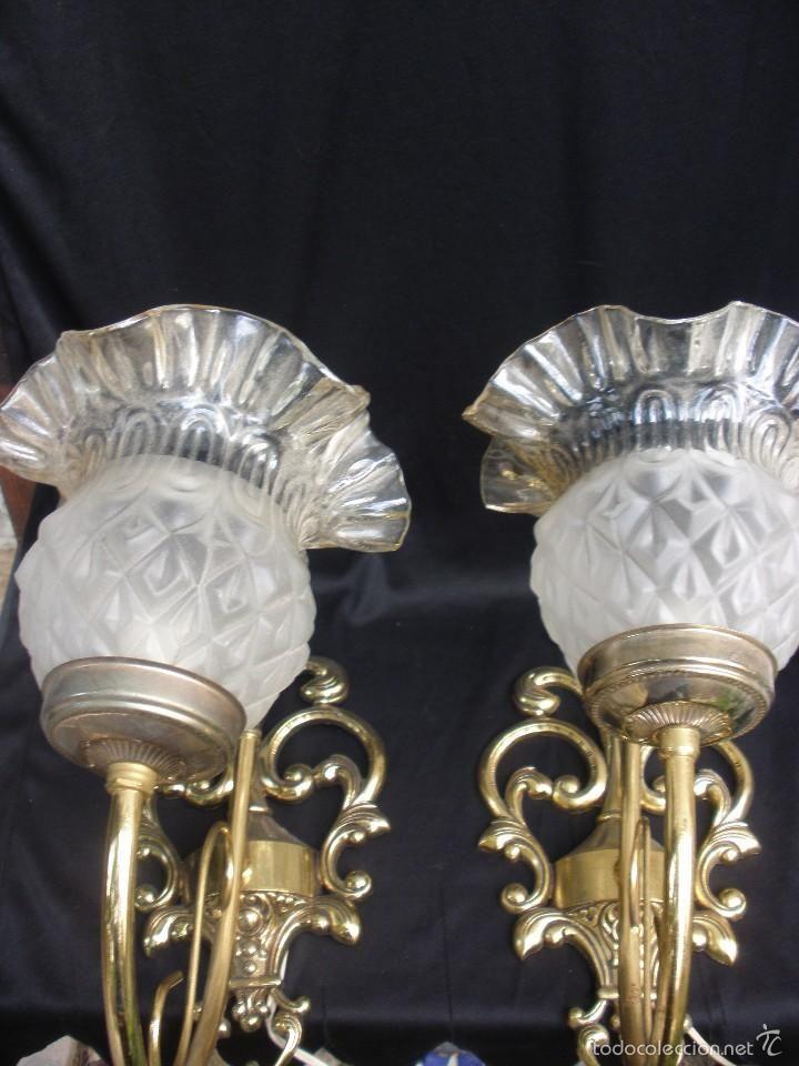 2 antiguos apliques de lampara con bonita tulipa de - Tulipas de lamparas ...