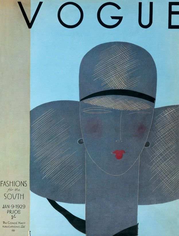 Illustrated Vogue UK cover.  Grey lady's face and grey hat. (Jan 1929)