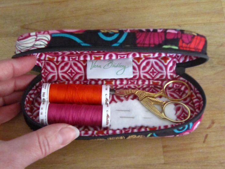 Perfect Sewing Gifts from an EyeGLass case - sewing mini scissors, 2 quality spools of Thread for sewing kit.  Would also be great for the knitting bag.