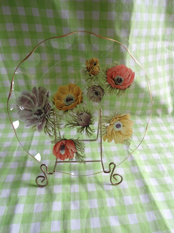 Adorable Painted Glass Plate by RoyalRummage on Etsy, $6.00