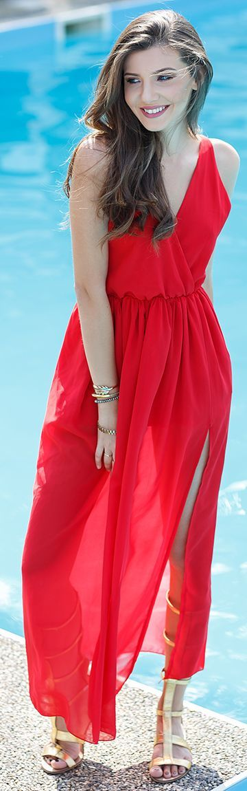 The Mysterious Girl Red Maxi Dress
