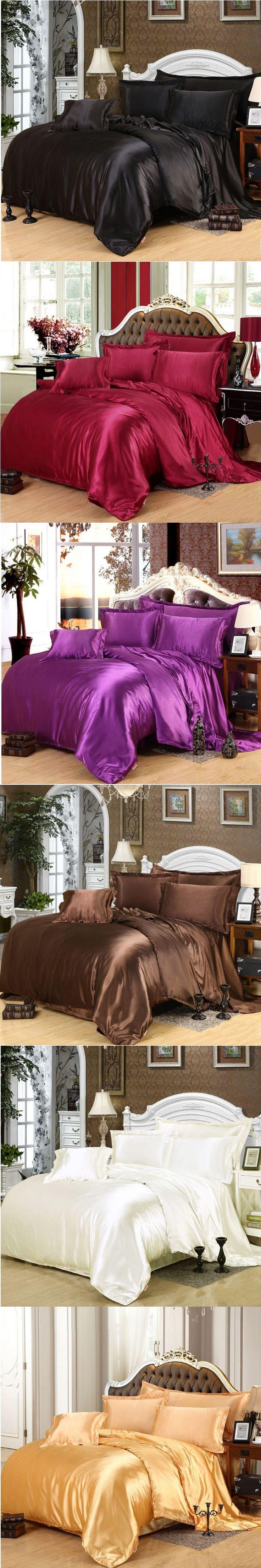 Brown bedding set home textile 4/6pcs  imitated silk satin duvet cover queen king bed set bedclothes bed sheet pillowcases