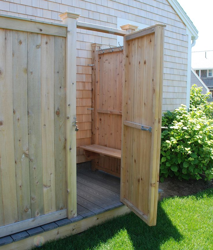 Outdoor Cedar Shower Kits with Bench, Decking / Flooring, Plans, Post caps, Extra Post against House - Keep Dirt / Sand the Dirt Outside
