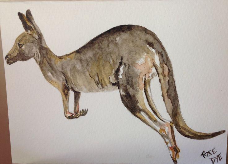 "Kangaroo - ""Hop on Board""  Watercolour"