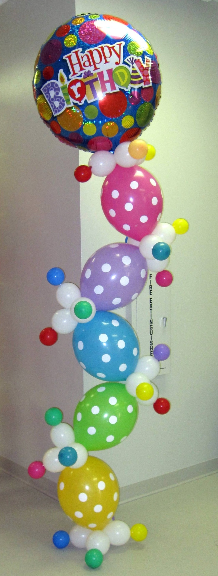 100 plus balloon pins on CaBeatrice's Balloon Board; Happy Birthday Balloons in column