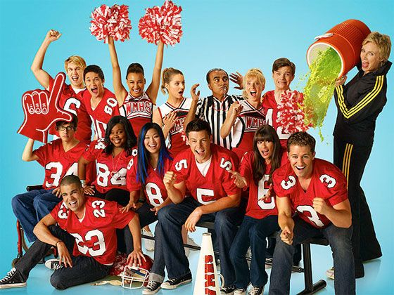 This a is a pic of the glee club from the show.  In the back row is Sue the cheerleading coach, Kurt, Brittany, principle Figgins, Quinn, Santana, Mike, Sam, in front row Artie, Mercedes, Tina, Finn, Raechel, the leader of glee club Mr. Shue and Puck.