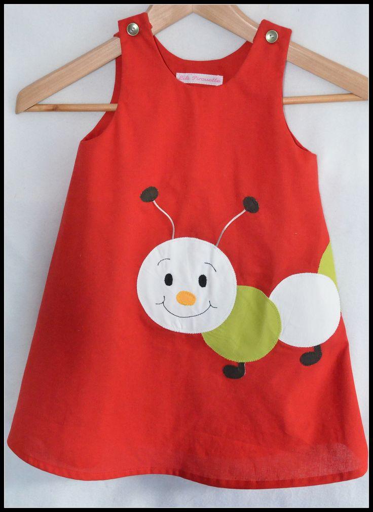 """Robe """"chenille"""" personnalisable du 24 au 36 mois sur commande. : Mode filles par petite-pomme-et-mini-chouette"""