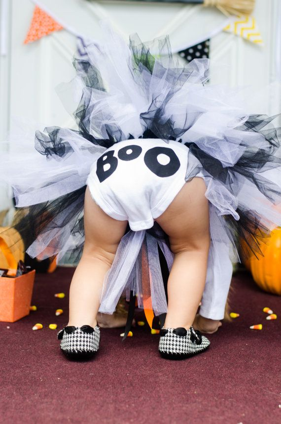 Ghost Halloween B&W Tutu Costume for Sizes 3t5t by LilasLaundry