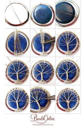 Lapis Lazuli Tree of Life diy wire wrapoed stone pendant.