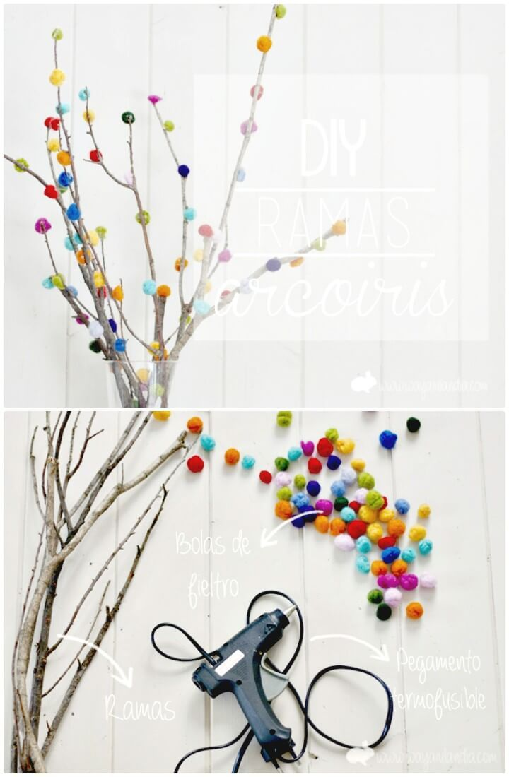 DIY Decorated Branches With Fieltrable Wool And Mini Garden - 101 Easy DIY Spring Craft Ideas and Projects - DIY & Crafts