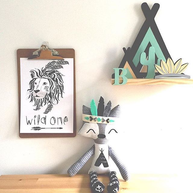 """""""How gorgeous is this little collection! Repost from @kissesforkye featuring their awesome """"Wild One"""" print! Also including a @hellolucy15 little fox and a @pretty.in.pine teepee shelf! ⭐️ Just love it all!!!!"""" Photo taken by @wonderlandinteriors on Instagram, pinned via the InstaPin iOS App! http://www.instapinapp.com (09/16/2015)"""