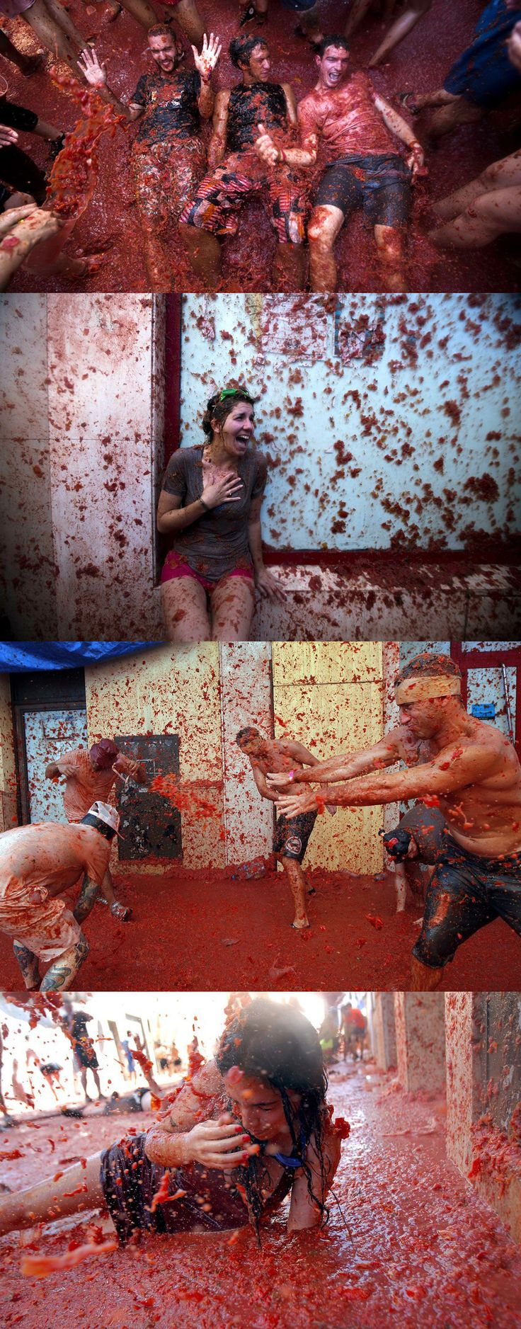 """People from around the world descended on the streets of Buñol, Spain for its annual La Tomatina festival, where participants throw """"more than 100 metric tons of over-ripe tomatoes in the streets."""""""