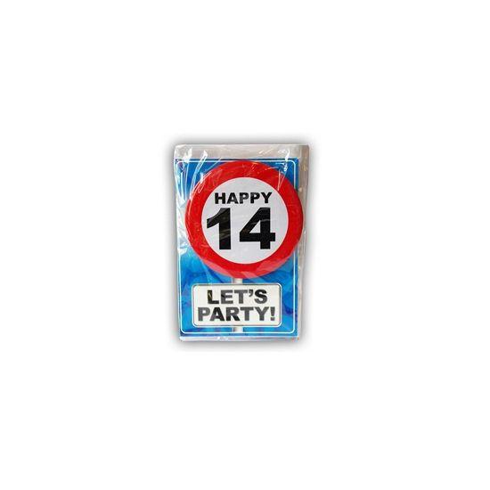 Happy Birthday kaart met button 14 jaar. Leuke verjaardagskaart voor een 14e verjaardag. Met stopbord button die de jarige zelf kan dragen.