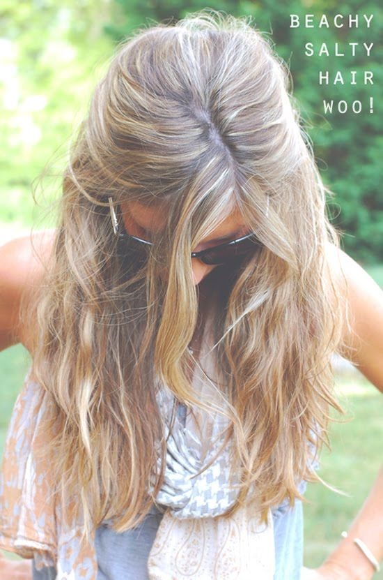 spray a little sea salt and coconut oil mixed with water in your hair for an instant beach hair look!