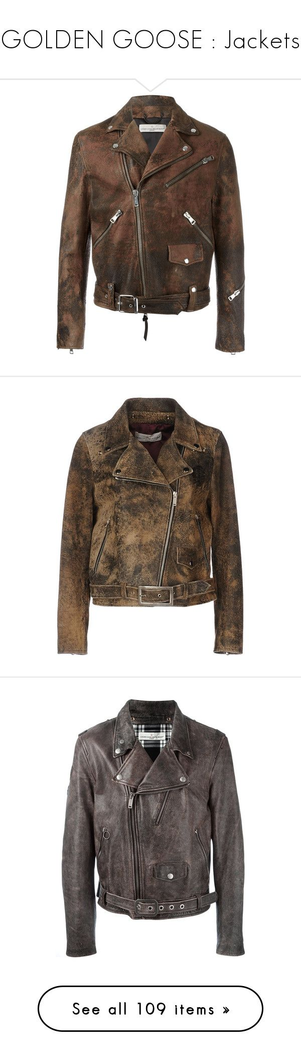 """""""GOLDEN GOOSE : Jackets"""" by bianca-cazacu ❤ liked on Polyvore featuring men's fashion, men's clothing, men's outerwear, men's jackets, brown, mens brown jacket, mens brown leather motorcycle jacket, outerwear, jackets and khaki"""