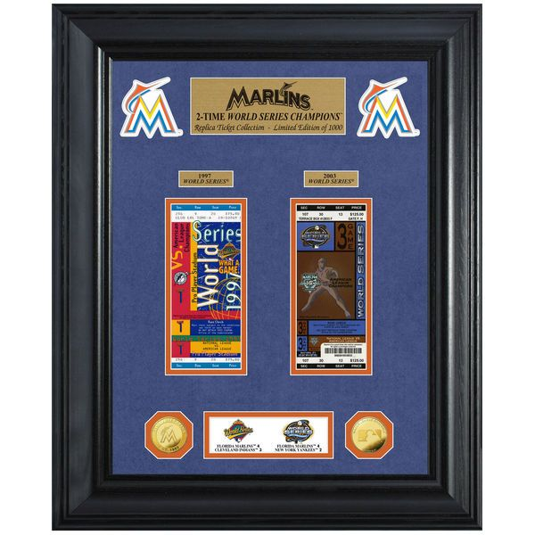 """Miami Marlins Highland Mint 18"""" x 22"""" 2-Time World Series Champions Deluxe Coin & Ticket Collection Photo Mint - $149.99"""