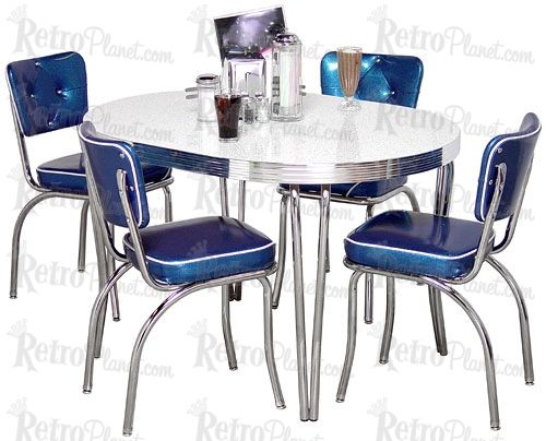 I would really like to have a retro-style dining room set for an eat-in kitchen. I love the blue, white, and chrome colors here.