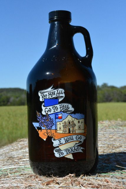 "Show your Texas pride with your very own ""I WILL GO TO TEXAS"" Texas growler from Union Growler Co. - 64 oz brown amber glass bottle - Polyseal cap keeps your unopened beer fresh for at least 2 weeks G"