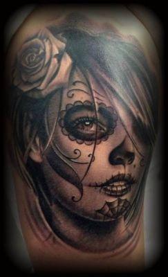 Female sugar skull pictures to pin on pinterest tattooskid - Santa muerte tatouage signification ...