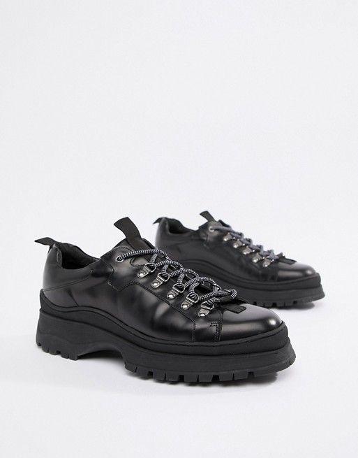 a0a91c52072 DESIGN sneaker shoes in black leather with chunky sole | asos men ...
