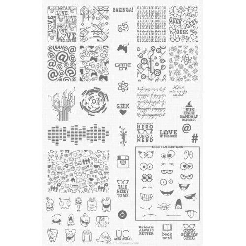 UberChic Beauty : UberChic Nail Stamping Plate - Geek Love 01 Shop here- www.color4nails.com Worldwide shipping available