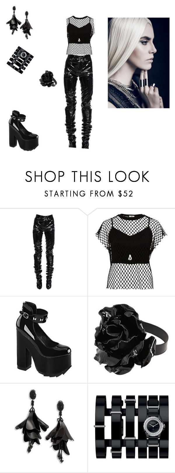 """Rock outfit"" by elenatsr on Polyvore featuring Yves Saint Laurent, River Island, Demonia, Oscar de la Renta and Chanel"