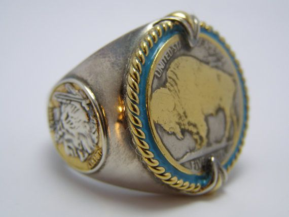Silver & 24K Gold, 1923 US Buffalo Indian Head Nickel, Honoring The American West Men's Ring