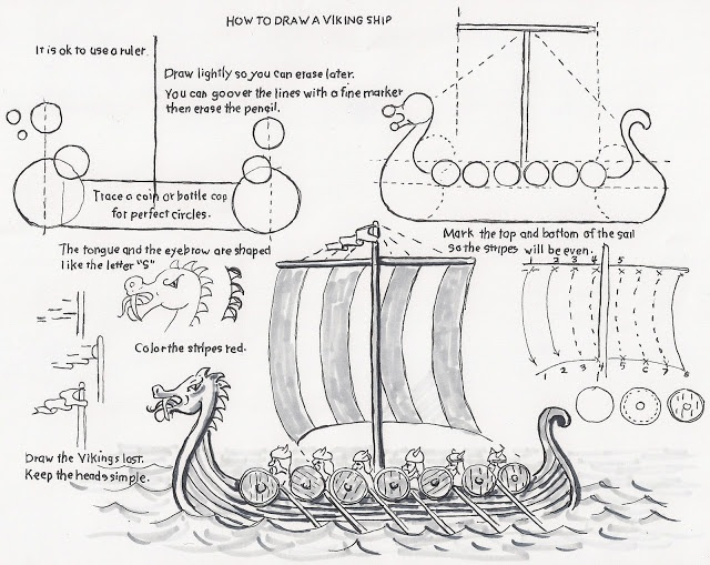How to Draw Worksheets for Young Artist: Viking Longship