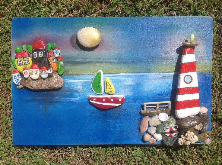 Stone painting Teoman Guray, tas boyama, sailing, sea, moon, boat