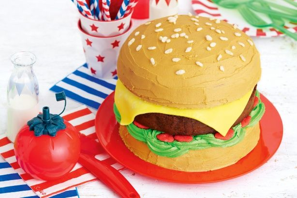 Keep everyone guessing by serving this fabulous 'hamburger' cake at your next kid's party - surprise!