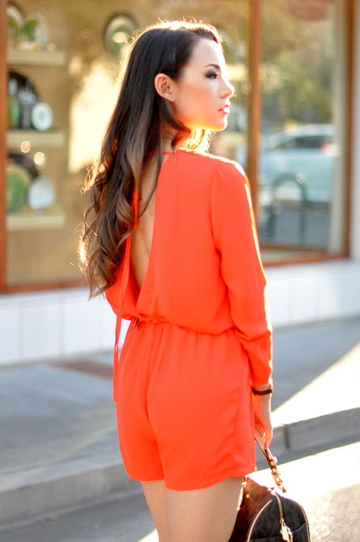Sheinside Orange Playsuit, Michael Kors Bag, Meredith Hahn Necklace, Bebe Heels, Edge of Ember Cuff