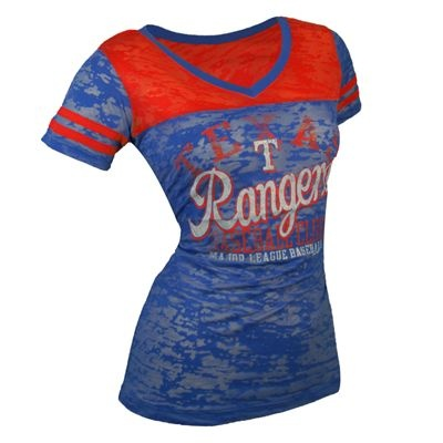 Texas Rangers Touch by Alyssa Milano MLB Women's The Coop II V-Neck T-Shirt (Blue)