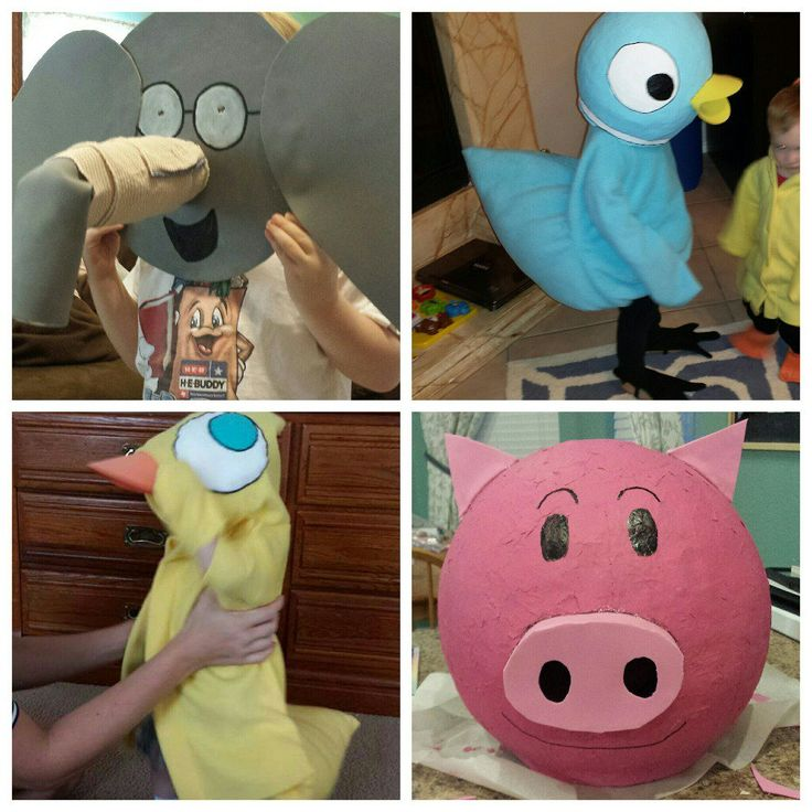 Elephant & Piggie costume, duckling costume, pigeon costume Mo Willems #diy #homemade #costume #mowillems #Halloween