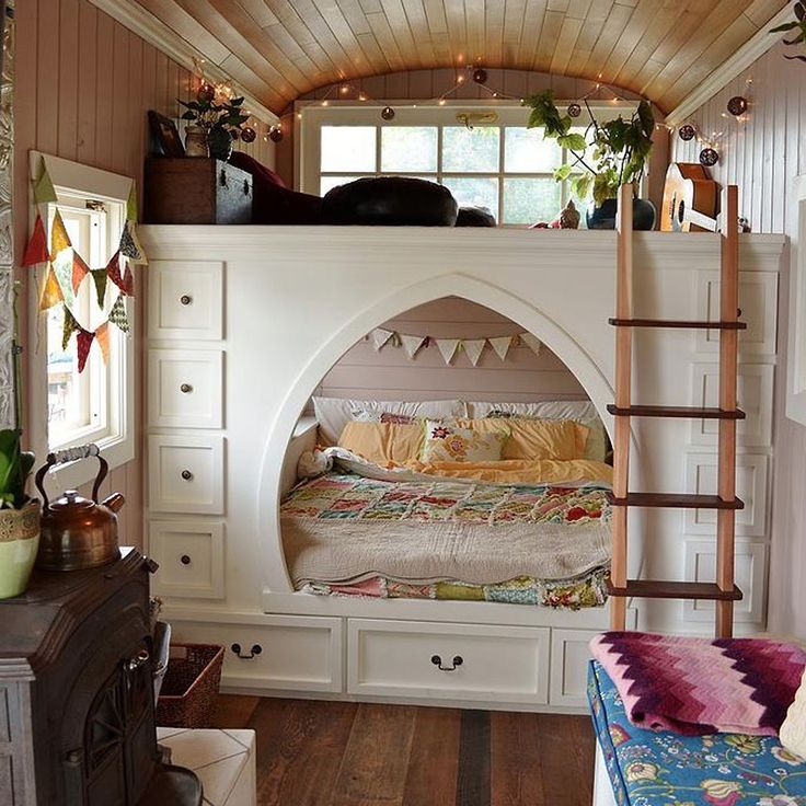 family converts school bus into beautiful cottage on wheels video tiny girls bedroomtiny house - Tiny House Inside