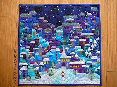 Nightime Happy Village by Mary @ http://quiltinjeanie.blogspot.com/2016/03/happy-village-finish.html