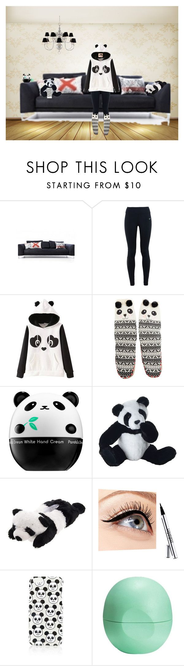 """""""chillen at home:panda"""" by michellemaria08 on Polyvore featuring Mode, Cappellini, NIKE, Accessorize, Tony Moly, Panda, Luminess Air, Topshop, Eos und Eichholtz"""