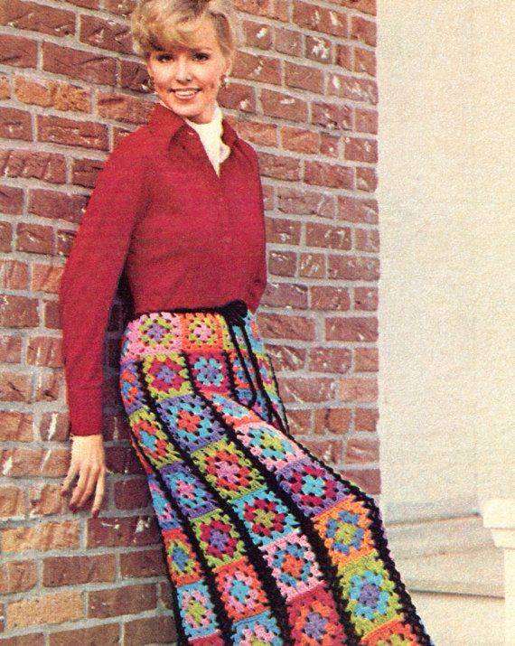 Vintage 1970s granny squares crochet skirt pattern.  Skirt can be made to any desired length by having more or fewer strips.  Drawstring waist.